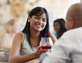 Lady drinking wine on date