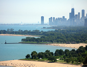Chicago from above in summer