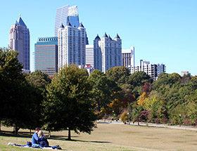 Couple in Piedmont Park, Atlanta